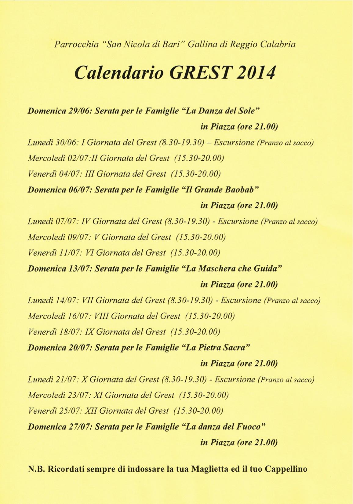 San Nicola Calendario.Parrocchia San Nicola Di Bari Gallina Rc Calendario